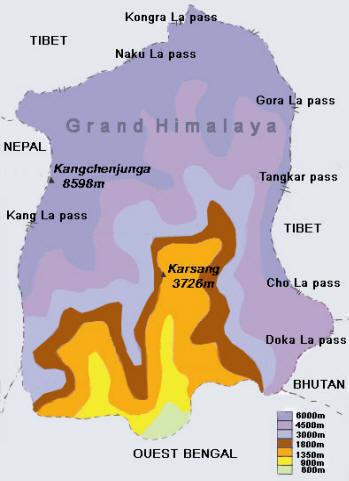 Carte Inde Sikkim.Le Sikkim