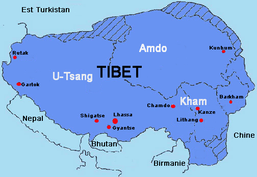 Birmanie Carte Regions.Le Tibet